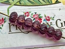 vintage glass amethyst beads melon beads6x8mm czech flower spacers nos 739a