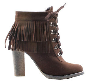 NEW Brown Fringes tassel lace up High Heel Western Ankle botties BOOTS Size 5.5