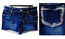 Maurices navy blue embroidered pockets spandex denim shorts 24