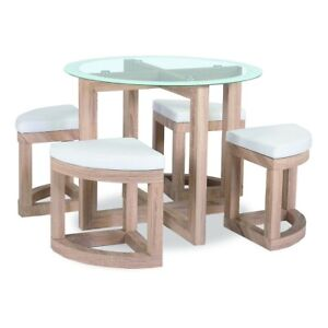 Home Dining Set with Glass Top and 4 Chairs