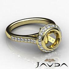 Diamond Engagement Ring 14k Yellow Gold Round Shape Semi Mount Halo Pre-Set 0.8C