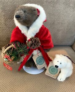 "RARE Boyds Bears 11"" North Pole Santa w/Stand + North Pole Polar Bear • w/Tags"