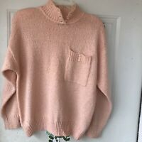 Vtg Sweater Womens Large Blush Mauve Pink Soft Fuzzy Oversized Pullover Collar