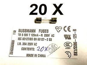 125mA, 250VAC, Time Delay, 5x20, Td S506, T125mA-R, Fuse, Bussmann, 20 Piece