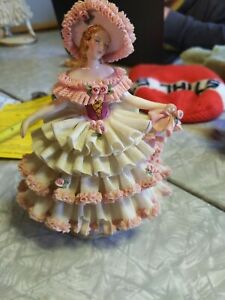 Dresden Lace Figurine Lady with Parasol & Hat - White & Pink
