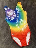 GK ELITE Gymnastics Leotard RAINBOW Tie-Dye SHOWSTOPPER Colorful Leo USA Sz: AM