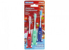 PACK OF 3 CHILD/CHILDRENS TOOTHBRUSH WITH SUCKER BASE -  KIDS TEETH TOOTHBRUSHES