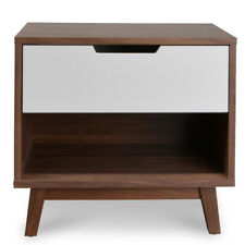 Modern Retro Scandinavian Design Natural Walnut Timber Bed Side Table Nightstand