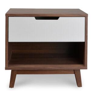 Modern Retro Scandinavian Design Natural Walnut Timber Bed Side Table Nightstand