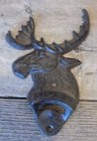 CAST IRON MOOSE BOTTLE OPENER OPEN CABIN DECOR BEER BAR SODA WALL MOUNT RUST