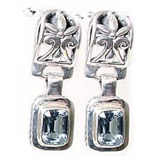 Topaz Earrings_925 Sterling Silver Art Deco Filigree Blue