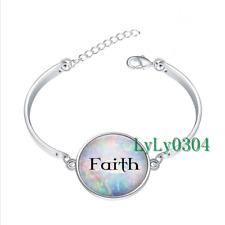 Faith on Opalesque  glass cabochon Tibet silver bangle bracelets wholesale
