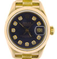 Lady Rolex Solid 18K Yellow Gold Datejust President Watch BARK Blue Diamond