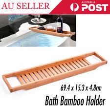 Wooden Bamboo Bath Caddy Tray Bathtub Rack Shelf Storage Wine Glass Holder AU