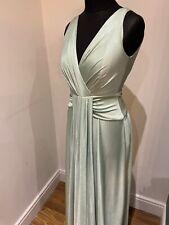 Stunning BIBA Long Grecian Dress Pale Green Shimmer Size 10