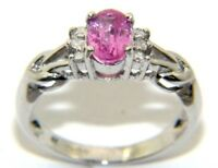 Ladies Womens 9ct White Gold Pink Sapphire & Diamond Engagement Ring Size K 1/2