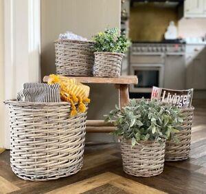 Grey & Buff Rattan Wicker Basket Round Woven Planter Flower Pot Plant Container