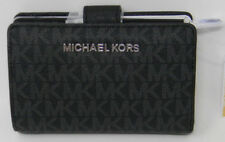New Michael Kors Jet Set Signature Leather Black Silver Bifold Zip Coin Wallet