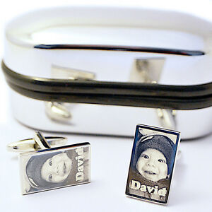 Personalised Cufflinks Photo Engraved Wedding Favour Best Man, Father's gift