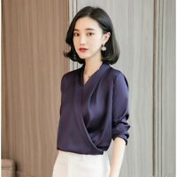 Lady Satin Faux Silk Shirt Retro Tops Chiffon Pleated Formal Blouse V Neck Solid