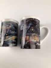 Thomas Kinkade Set 2 1995 Coffee Tea Mugs Lamplight Village Still Water Cottage