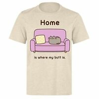PUSHEEN HOME HOME IS WHERE MY BUTT IS PH169 UNISEX NATURAL CREAM T-SHIRT