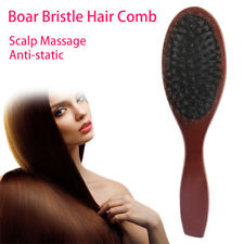 New Natural Boar Bristle Hair Brush Comb Oval Anti-static Paddle Massage Scalp
