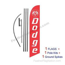 Custom Red Dodge 15' Feather Banner Swooper Flag Kit with pole+spike