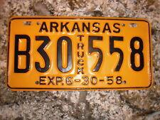 1958 ARKANSAS TRUCK LICENSE PLATE B30 558