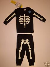 NWT Gymboree Halloween Skeleton Pajamas Costume 6-12 Month Glow in the Dark