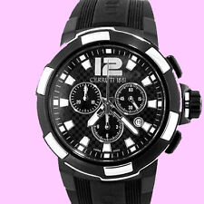 CERRUTI MEN'S ROMA SPORTIVA SWISS MADE CHRONOGRAPH WATCH NEW BLACK CT68321003