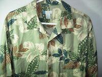 MENS GREEN BROWN BLUE IVORY SILK  RAYON HAWAIIAN ALOHA ISLAND SHIRT SIZE XL 48
