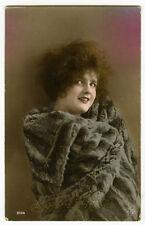 1920's French Deco vintage FUR COAT BEAUTY tinted antique photo postcard