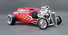 1934 BLOWN HEMI VINTAGE ALTERED NITRO COUPE RED METALLIC W/ FLAMES 1:18 GMP ACME