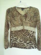 Womens MODA INTERNATIONAL Long Sleeve Animal prints Semi sheer Top  Shirt Size M