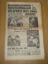 MELODY MAKER 1957 DECEMBER 14 CHRISTMAS EDITION HARRY BELAFONTE FINSBURY PARK
