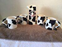 Russ Ceramic Cow Milk Carton w/  4~black & white Spotted Coffee Mugs Taiwan