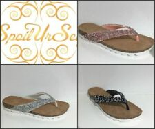 Ladies Womens Slip On Diamante Flip Flop Sparkly Sandals Essex Shoe Size