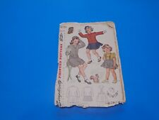 VTG 1940s Simplicity Pattern 4771 Girls Suspender Skirt Jacket & Calot Size 6