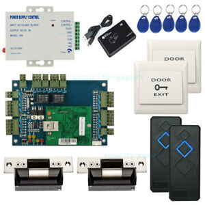 Wiegand 2 Doors RFID Entry Access Control Systems ANSI Strike Lock Power Supply