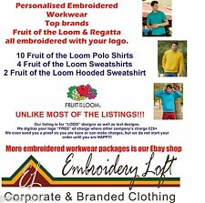 FRUIT OF THE LOOM EMBROIDERED POLO SHIRTS WORKWEAR POLO SHIRT BUNDLE PACK F/L5