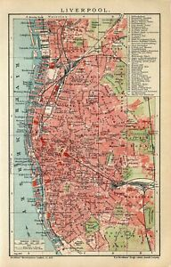 1905 ENGLAND LIVERPOOL CITY PLAN Antique Map dated