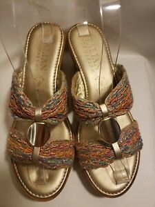 Italian Shoemakers Cayman Cork Wedges Woven Slides Size 6.5 Made in Italy