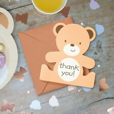 Hatton Gate Teddy Bear Shaped Thank You Cards 8 cards with envelopes per pack