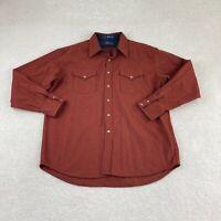 Pendleton Canyon Western Button UP Shirt XL Rust  Pearl Snap 100% Virgin Wool
