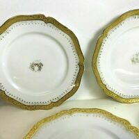 Set of 6 Limoges Gold Encrusted Rim Dessert Plates