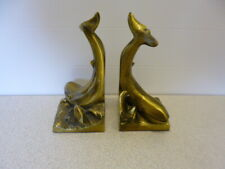 Pair of Vintage Heavy Brass Whale Bookends