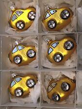 Lot of 6 Czech Republic Hand Blown Glass Yellow Car Christmas Tree Ornaments