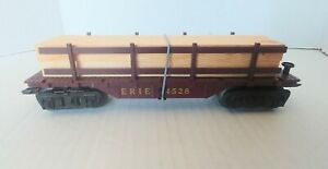 Marx Trains #4528 Erie Flatcar w/ repro Wood Load & tie down & working couplers