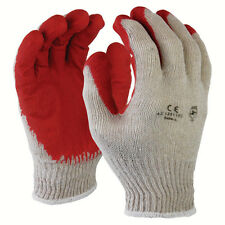 48 Pairs Cotton /Poly Work Gloves  Lg w/ Red Latex Coated Palm Finger White